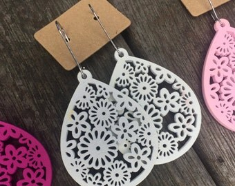 WHITE floral teardrop lace filigree wooden earrings