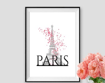 Pink Baloons Paris Print Eiffel tower Art Instant Download Paris Decor Wall Art Paris Black and white Tour Eiffel Poster Travel Print