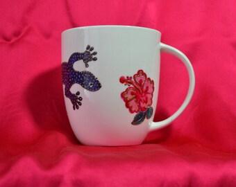 Hand Painted Lizard Porcelain Coffee Mug. Lizard Tea Cup. Perfect Gift.