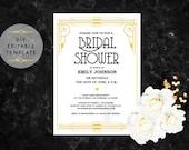 Bridal Shower Invitation template. DIY Great gatsby bridal shower invite. Roaring 20s invitation. Printable invitation editable template PDF