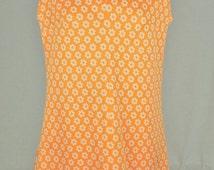 Vintage 1960's Mod Hippie Go Go Handmade sleeveless dress, orange and white flower print, (496-189)