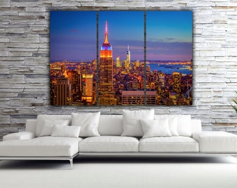 New York Empire State Building and New York Skyline at Sunset, New York Photo, Large Wall Art, Big Canvas, New York Canvas, New York City