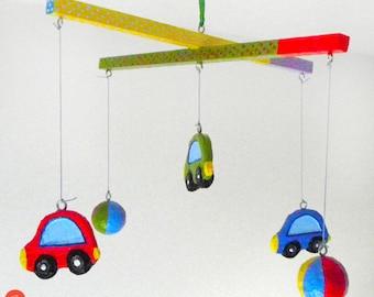 Kids car mobile,car nursery mobile,papier mache,paper mache,recycled art,eco friendly,paper pulp,kids room decor,kids gift,nursery decor