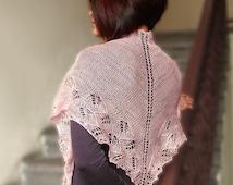 Pink evening shawlette, triangle shawl, cashmere and silk scarf, lace shawl, bridesmaid gift, bridal shawl, wedding, Ready to Ship