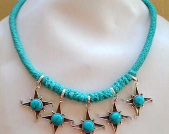 ethnic sterling silver turquoise gemstone pendant necklace rajasthan india
