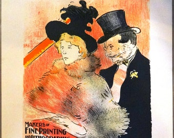 Toulouse Lautrec, antique advertising, advertising poster, lithographic poster, museum art poster, Ault and Wiborg Co, Antique french sign