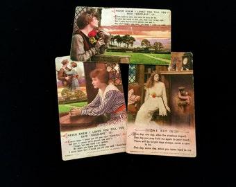 Set of 3 WWI Sweet Heart Postcards: Vintage 1910's