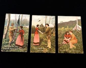 Set of 3 WW1 Sweet Heart Postcards: Vintage 1910's             VG1335