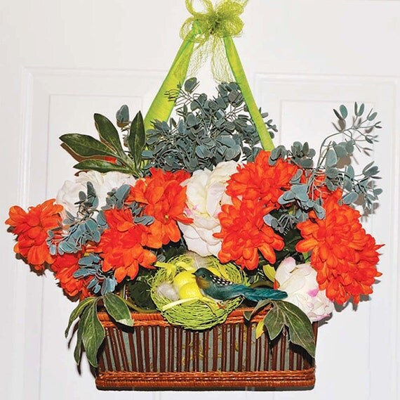 Front door decoration spring wreaths summer wreaths hanging Spring flower arrangements for front door