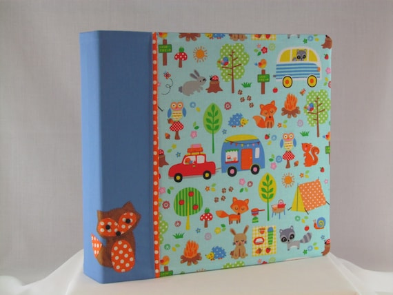 12x12 Postbound Fabric Scrapbook Photo Album Memory Book Handmade Fishing Hiking Camping Fox Tent Camper Owl Outdoors AO70 Album Outfitters