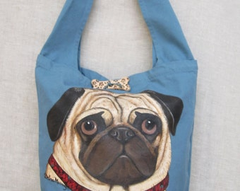 Pug Shoulder bag, Hand painted bag, travel bag, Canvas bag, Dog art bag, Dog lovers bag, Canvas hand painted bag