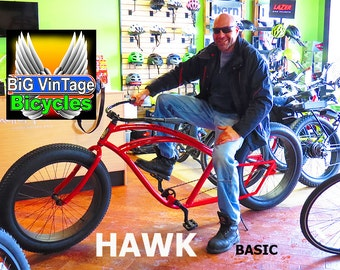 HAWK BASIC BiG VinTage Bicycles Huge Beach Cruiser Electric Power Fat Tire Bicycle Bike Rat Rod Bikes