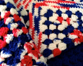 Patriotic Crocheted Afghan / Throw, 4th of July, American, Americana, Red White and Blue Blanket
