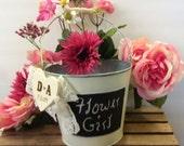 rustic flower girl basket, country flower girl bucket, rustic wedding bucket, rustic wedding decor, flower girl basket, flower girl gift