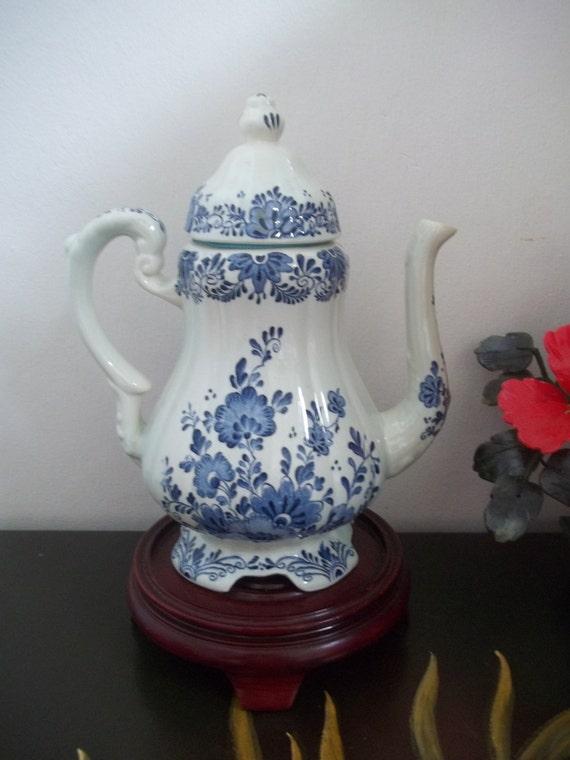 Delft Coffee Pot Delfts Blauw Pattern 牡丹 Botan