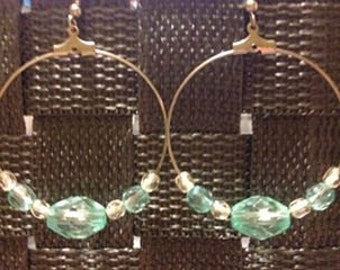 Silver Hoop Earrings-Aqua & Clear Beads