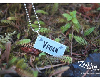 Vegan Pendant Charm with Two Little Flying Sparrow Bird - Rectangle Sterling Silver Pendant with word VEGAN and Two Little Flying Sparrows