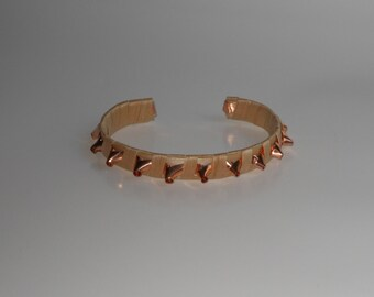 Black ash and Copper Spiked Bracelet