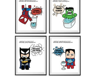 Superhero Bathroom Etsy