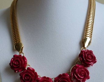 Rose Necklace  Pink Necklace Gold Necklace  Bib Necklace Statement Necklace  Shabby Chic Necklace Vintage Necklace Valentines Day Gift