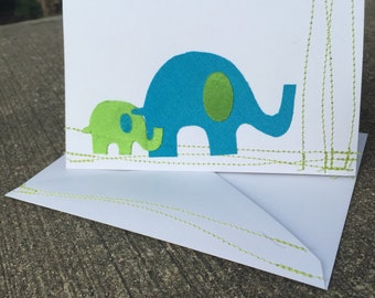 Parent and Child Elephant Handmade Greeting Card