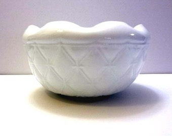 Milk glass bowl fluted edge