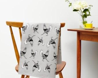 Se pavaner torchon coq en gris ardoise - accessoire de cuisine campagne, homeware parfait cadeau pour les amoureux des animaux.