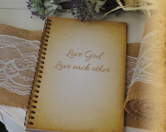 Journal Bible, Writing Journal, Prayer Journal, Bible Journal - Love God Love Each other, Custom Personalized Journals Vintage Style Book