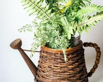 Vintage Planter - Faux Watering Can Planter - Rustic Wicker & Wood Basket - Watering Can Basket