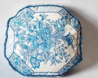 Vintage Blue Flowers Cushion - Shabby Chic Cottage Cushion - Decorative Octagon Pillow