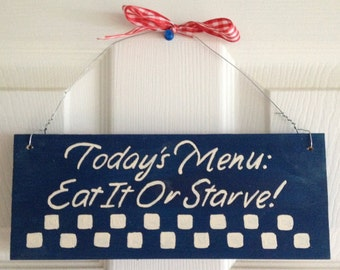 Today's Menu wooden sign