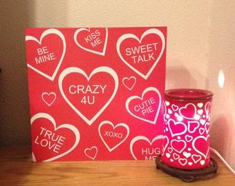Valentine Conversation Heart Free Standing Box Board