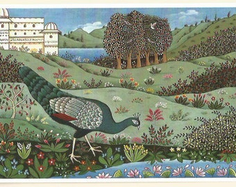 Peahen by the river. Fine art card.