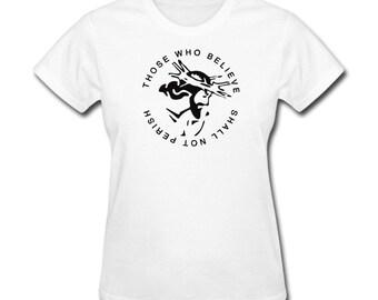 Women's T-Shirt Shall Not Perish Christian