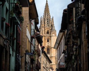 Street to the cathedral, Photography, Art Print, travel, street, buildings, Photograph, photo, cathedral, oviedo, spain, print