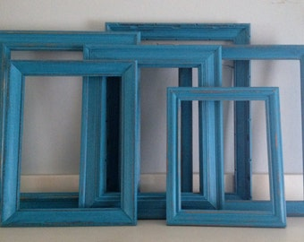 Aqua Blue Distressed Picture Frames