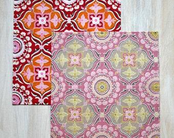 Decoupage paper napkin pattern Red Orange Pink Grey napkins Oriental ornament
