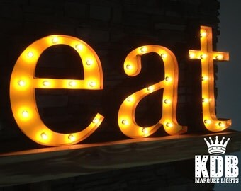 "Lighted ""eat"" Marquee Sign - 24"" High - 3 Lower Case Letters"