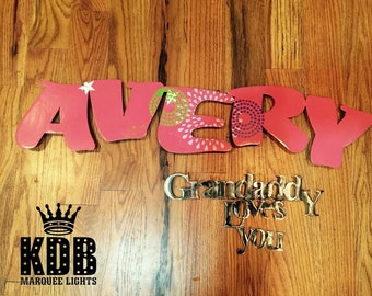 "Kids Name with Special Message - Metal Sign - 8"" High Letters"