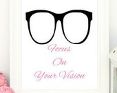 Focus on Your Vision, Pink Print, Black Print, Positive Print, Motivational Print, Art Prints, Prints for office