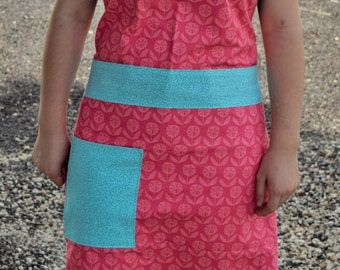 Reversible Women's Apron with Headband | Sea Pink | 100% Cotton | Handmade | Full Apron | Kitchen Apron | With Pockets | Ladies Apron