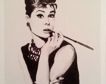 Audrey Hepburn - Hand drawn signed print