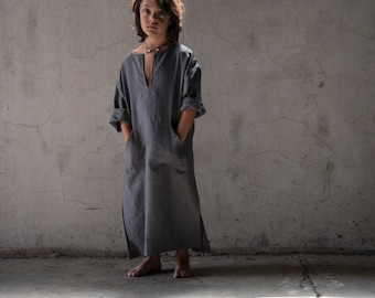 Kids comfortable beachwear. Pure linen caftan. Color lead grey.