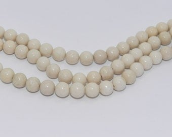 Fossil Beads - Full Strand - 8mm, Round, Natural - FOSS-R-8