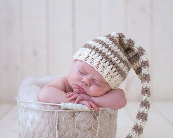 Crochet Elf Hat Long Tailed Hat Newborn Boy Infant Photo Prop Baby Boy