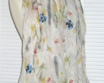 Elegant scarf, silk-chiffon/Merino,