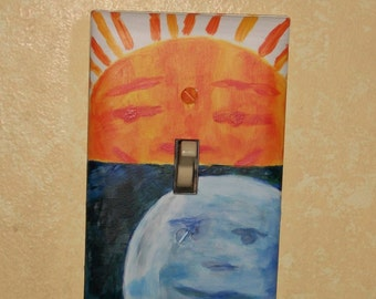 The very hungry caterpillar Hand painted Sun and Moon light switch cover nursery babies room