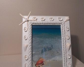 Seashell Picture Photo Frame/Beach Decor/Seashell Decor/Beach House Decor