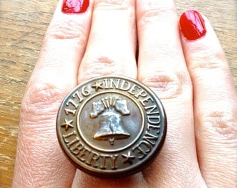 1776 Independence Liberty Ring, Antique Button Ring, Button Ring