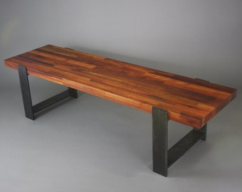 Mahogany Wood and Steel Bench
